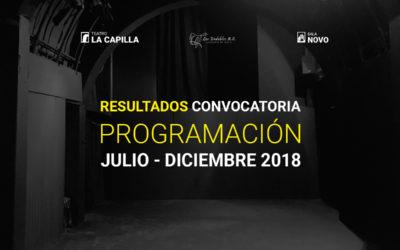 Resultados convocatoria de programación julio – diciembre 2018
