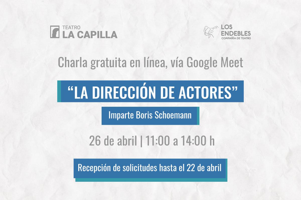 Charla gratuita en línea: La dirección de actores
